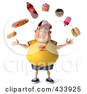 3d Chubby Burger Man Facing Front And Juggling Fast Food