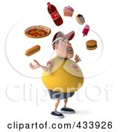 3d Chubby Burger Man Facing Right And Juggling Fast Food