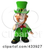 Royalty Free RF Clipart Illustration Of A 3d Leprechaun Man Facing Front And Using A Magnifying Glass by Julos