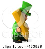 Royalty Free RF Clipart Illustration Of A 3d Leprechaun Man Facing Right And Using A Pencil by Julos