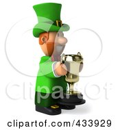 Royalty Free RF Clipart Illustration Of A 3d Leprechaun Man Facing Right And Holding A Trophy by Julos