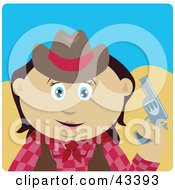 Clipart Illustration Of A Mexican Cowgirl Holding Up A Pistil by Dennis Holmes Designs