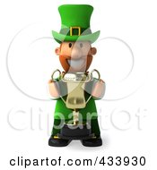 Royalty Free RF Clipart Illustration Of A 3d Leprechaun Man Facing Front And Holding A Trophy by Julos