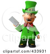 Royalty Free RF Clipart Illustration Of A 3d Leprechaun Man Facing Front And Holding An Envelope by Julos