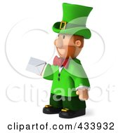 Royalty Free RF Clipart Illustration Of A 3d Leprechaun Man Facing Left And Holding An Envelope by Julos
