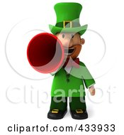 Royalty Free RF Clipart Illustration Of A 3d Leprechaun Man Facing Front And Using A Megaphone by Julos