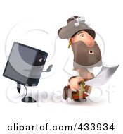 Royalty Free RF Clipart Illustration Of A 3d Pirate Running From A Computer Tower by Julos