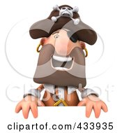Royalty Free RF Clipart Illustration Of A 3d Pirate Laughing And Holding A Blank Sign by Julos