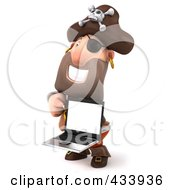 Royalty Free RF Clipart Illustration Of A 3d Pirate Facing Left And Holding A Laptop by Julos