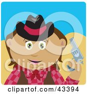 Clipart Illustration Of A Latin American Cowgirl Holding Up A Pistil