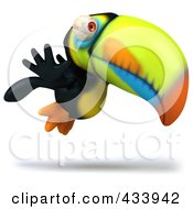 Royalty Free RF Clipart Illustration Of A 3d Toucan Bird Flying Right