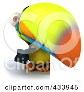 Royalty Free RF Clipart Illustration Of A 3d Toucan Bird Pointing And Looking Around A Blank Sign