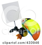 Royalty Free RF Clipart Illustration Of A 3d Toucan Bird Flying With A Blank Sign