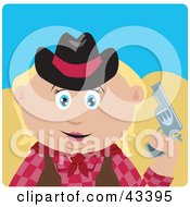 Clipart Illustration Of A Caucasian Cowgirl Holding Up A Pistil