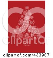 Royalty Free RF Clipart Illustration Of A White Snowflake Christmas Tree With A Swirl Trunk On Red by BestVector