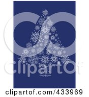 White Snowflake Christmas Tree With A Swirl Trunk On Blue