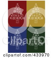 Digital Collage Of White Snowflake Christmas Trees With Swirl Trunks