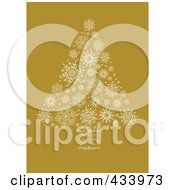 White Snowflake Christmas Tree With A Swirl Trunk On Yellow