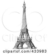 Royalty Free RF Clipart Illustration Of A Vintage Black And White Sketch Of The Eiffel Tower 1 by BestVector