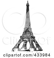 Royalty Free RF Clipart Illustration Of A Vintage Black And White Sketch Of The Eiffel Tower 2 by BestVector
