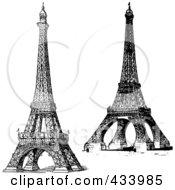 Royalty Free RF Clipart Illustration Of A Digital Collage Of Vintage Black And White Sketches Of The Eiffel Tower by BestVector