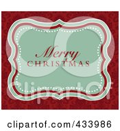 Merry Christmas Greeting In A Green Frame Over An Ornate Red Background