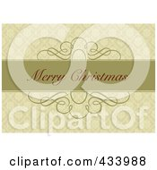 Merry Christmas Greeting On A Green Bar Over An Ornate Tan Background