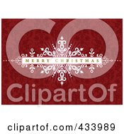 Merry Christmas Greeting On A White Bar Over An Ornate Red Background