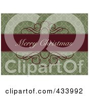 Merry Christmas Greeting On A Red Bar Over An Ornate Green Background