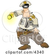 Graveyard Shift Police Officer Shinning His Flashlight At Something Clipart by djart