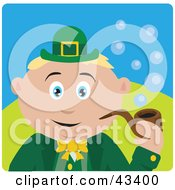 Clipart Illustration Of A Caucasian St Patricks Day Leprechaun Boy Smoking A Tobacco Pipe by Dennis Holmes Designs