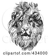 Royalty Free RF Clipart Illustration Of A Vintage Black And White Lion Sketch 4 by BestVector