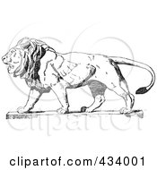 Royalty Free RF Clipart Illustration Of A Vintage Black And White Lion Sketch 2