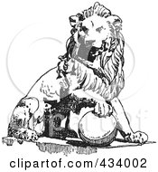 Royalty Free RF Clipart Illustration Of A Vintage Black And White Lion Sketch 3 by BestVector