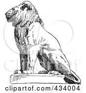 Royalty Free RF Clipart Illustration Of A Vintage Black And White Lion Sketch 1