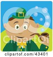 Clipart Illustration Of A Latin American St Patricks Day Leprechaun Boy Smoking A Tobacco Pipe