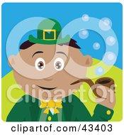 Clipart Illustration Of A Hispanic St Patricks Day Leprechaun Boy Smoking A Tobacco Pipe