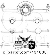 Royalty Free RF Clipart Illustration Of A Digital Collage Of Vintage Black And White Banners