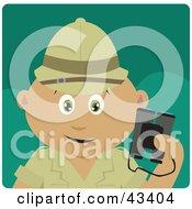 Clipart Illustration Of A Latin American Explorer Holding Binoculars On A Safari by Dennis Holmes Designs
