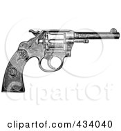 Royalty Free RF Clipart Illustration Of A Vintage Black And White Revolver Sketch