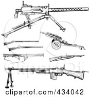 Royalty Free RF Clipart Illustration Of A Digital Collage Of Vintage Black And White War Gun Sketches