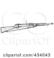 Royalty Free RF Clipart Illustration Of A Vintage Black And White War Gun Sketch 6 by BestVector