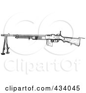 Royalty Free RF Clipart Illustration Of A Vintage Black And White War Gun Sketch 7 by BestVector