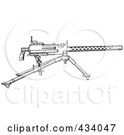 Royalty Free RF Clipart Illustration Of A Vintage Black And White War Gun Sketch 1 by BestVector