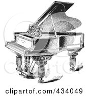 Royalty Free RF Clipart Illustration Of A Vintage Black And White Grand Piano Sketch 2 by BestVector