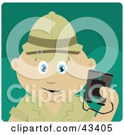 Clipart Illustration Of A Mexican Explorer Holding Binoculars On A Safari by Dennis Holmes Designs