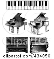 Royalty Free RF Clipart Illustration Of A Digital Collage Of Vintage Black And White Piano Sketches by BestVector