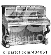 Vintage Black And White Upright Piano Sketch 2