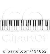 Royalty Free RF Clipart Illustration Of A Vintage Black And White Piano Keyboard by BestVector