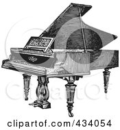 Royalty Free RF Clipart Illustration Of A Vintage Black And White Grand Piano Sketch 1 by BestVector